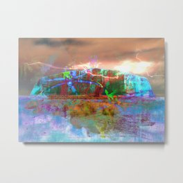 Land and Water Collide Metal Print