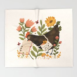 Chicken Reading a Book Throw Blanket