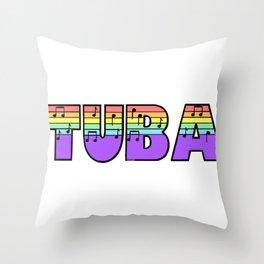 Pastel Tuba Throw Pillow