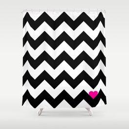 Heart & Chevron - Black/Pink Shower Curtain