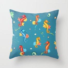 Seahorse Party Throw Pillow