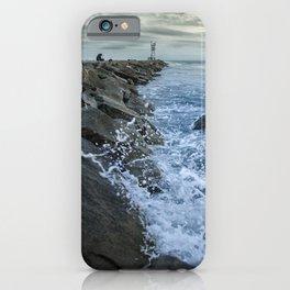 Splashing on the Jetty Coastal Landscape Photograph iPhone Case