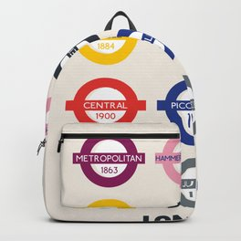 London underground poster, metro alphabet map, subway sign, the tube art Backpack