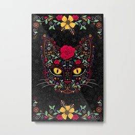Day of the Dead Kitty Cat Sugar Skull Metal Print