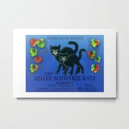 Vintage Autumn Leaves Zeller Riesling Cats Wine Bottle Label Print Metal Print