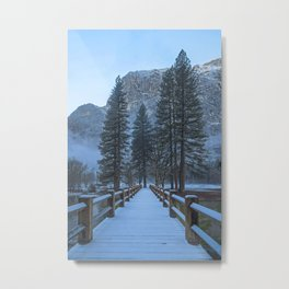 Swinging Bridge (also known as Sentinel Bridge) is covered in a fresh dusting of Spring snow Metal Print