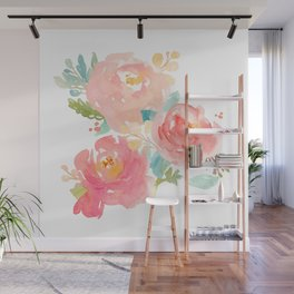 Watercolor Peonies Summer Bouquet Wall Mural