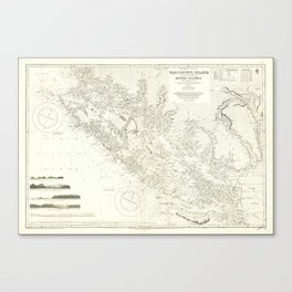 Vintage Map Print - Admiralty Chart No 1917 Vancouver Island & Shores of British Columbia, 1865 Canvas Print