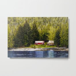 Old Houses on Evergreen Covered Coast Metal Print