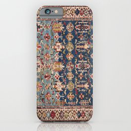 Dusty Blue Green Kuba 19th Century Authentic Colorful Yellow Bands Vintage Patterns iPhone Case
