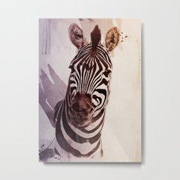 Watercolour Zebra Metal Print