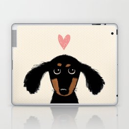 Dachshund Love | Cute Longhaired Black and Tan Wiener Dog Laptop & iPad Skin
