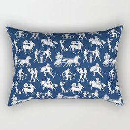 Greek Figures // Dark Blue Rectangular Pillow