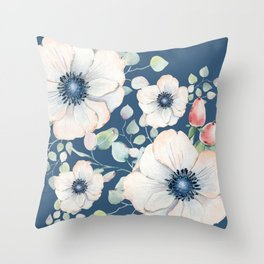 Summer Flowers Blue #society6 #buyart Throw Pillow