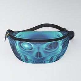 Gamer Skull BLUE TECH / 3D render of cyborg head Fanny Pack