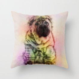 Shar-Pei puppy Sketch Digital Art Throw Pillow