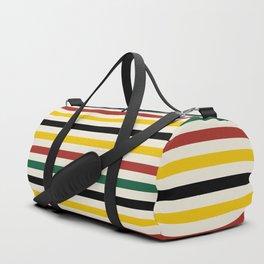 Rustic Lodge Stripes Black Yellow Red Green Duffle Bag