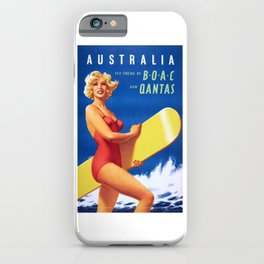 1956 Australia Fly There By BOAC And Qantas Airline Poster iPhone Case