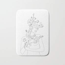 Minimal Line Art Woman with Wild Roses Bath Mat