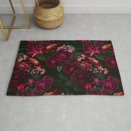 Vintage & Shabby Chic - Night Botanical Flower Roses Garden Rug