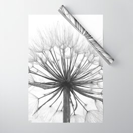 Black and White Dandelion Wrapping Paper