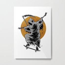 Reaper Skater Frankenberg ShirtWorks, © Frankenberg 2020 Reaper, Skater, Board, roll, Guitar, Rock, Metal Print