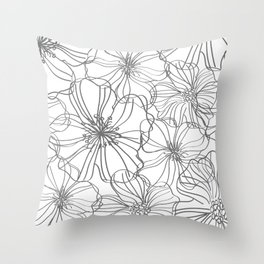 Line Art, Floral Prints, Charcoal and White, Minimalist Art Throw Pillow