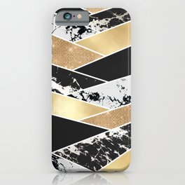 Modern Gold Black White Glitter Marble Geometric iPhone Case