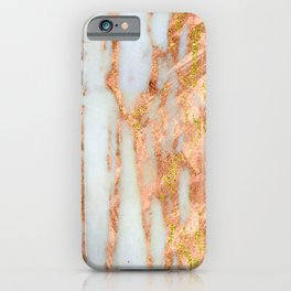 White Alabaster Marble With Flowing Gold-Glitter Veins iPhone Case