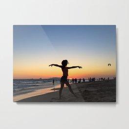 Vintage Surfer Girl | California Ocean Dancing on Huntington Beach Silhouette Orange Yellow Sky Metal Print