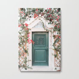 Green Door Surrounded by Flowers in Cascais, Portugal | Travel Photography | Metal Print