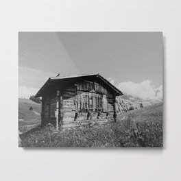 Old cottage in the Swiss Alps, Switzerland | Abandoned wooden cabin with mountain view | Black and white travel photography Metal Print