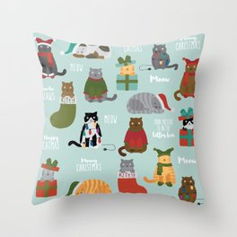 Naughty Christmas Cats with Words Throw Pillow