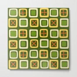 Mid Century Modern Squares Lines Avocado Green Metal Print