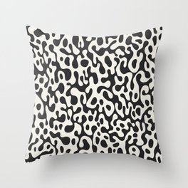 Black Ghostly Spill Throw Pillow