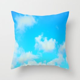 White Clouds Bright Blue Sky Throw Pillow