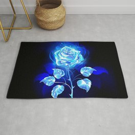 Burning Blue Rose Rug
