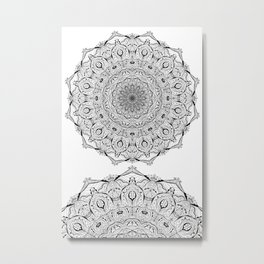 Lacy Flames Mandala in Black and White Metal Print