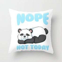 Cute & Funny Nope Not Today Lazy Panda Sleepy Throw Pillow