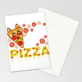 """""""Cat Pizza"""" Food Shirt For Snack Lovers Pepperoni Mushroom Meatballs Cheese Feline Feral Meow Stationery Cards"""