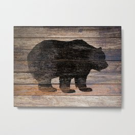 Rustic Bear Silhouette on Wood Country Art A231a Metal Print