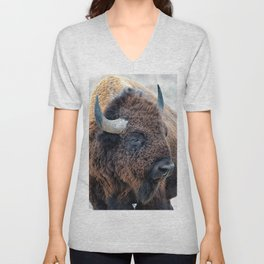 Buffalo the Mighty Beast - In The Presence Of Bison by OLena Art Unisex V-Neck