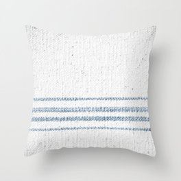 Vintage Farmhouse Grain Sack Soft Blue Stripes  Throw Pillow