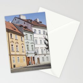 Buildings on a Cobblestone Street in Prague Stationery Cards