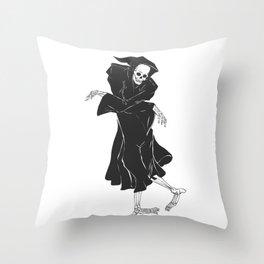 Dancing reaper - silhouette grim - skeleton cartoon - night angel Throw Pillow