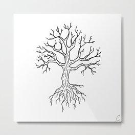 Leafless Rooted Tree Illustration Metal Print