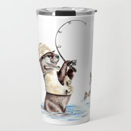 """"""" Natures Fisherman """" fishing river otter with trout Travel Mug"""