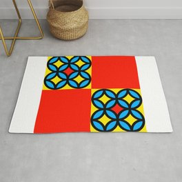 Colored Circles Red Squares Rug