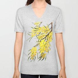 Godlen wattle flower watercolor Unisex V-Neck