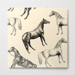 HORSES - Ecru Metal Print